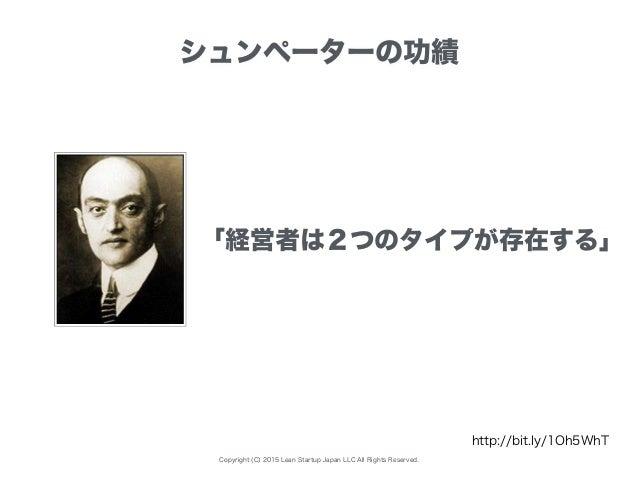 Copyright (C) 2015 Lean Startup Japan LLC All Rights Reserved. シュンペーターの功績 http://bit.ly/1Oh5WhT 「経営者は2つのタイプが存在する」