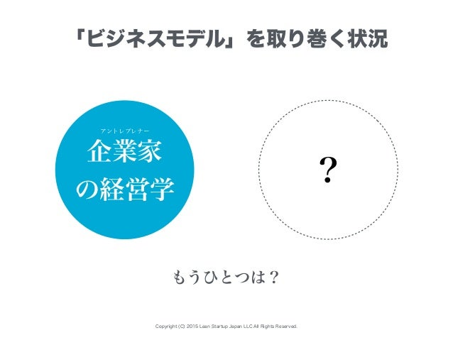Copyright (C) 2015 Lean Startup Japan LLC All Rights Reserved. 「ビジネスモデル」を取り巻く状況 企業家 の経営学 ? もうひとつは? アントレプレナー