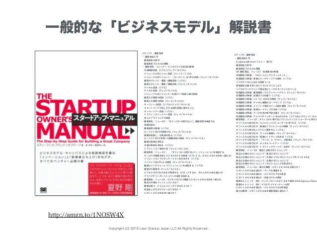 Copyright (C) 2015 Lean Startup Japan LLC All Rights Reserved. 一般的な「ビジネスモデル」解説書 ステップ1:顧客発見 ・ 顧客発見入門 顧客発見の哲学 顧客発見プロセスの概略 ...