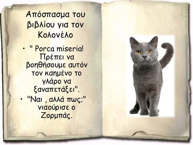 """• """"Μάλιστα"""" νιαούρισε ο Ζορμπάς.""""Καλή ιδέα. Θα πάω να βρω τον Ξερόλα."""" • """"Μαζί θα πάμε. Τα προβλήματα ενός γάτου του λιμαν..."""