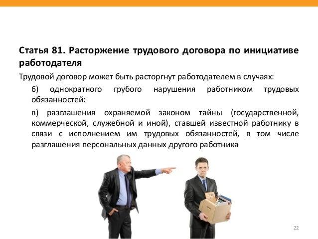 Статья 81. Расторжение трудового договора по инициативе работодателя Трудовой договор может быть расторгнут работодателем ...