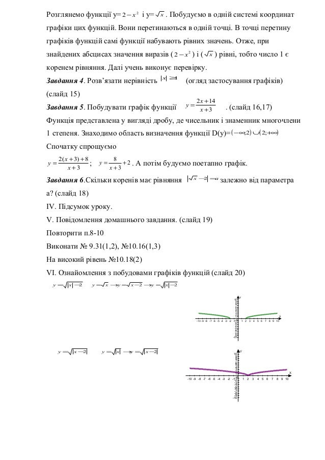 Розглянемо функції у= 2 2 х− і у= х . Побудуємо в одній системі координат графіки цих функцій. Вони перетинаються в одній ...