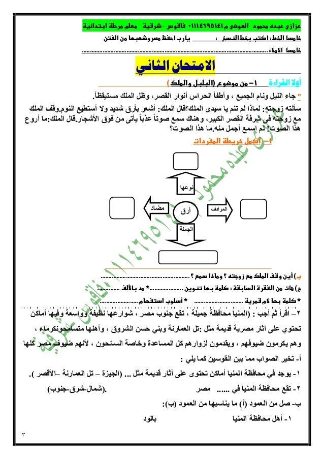 اختبارات لغة عربية الصف الثالث الابتدائي للتدريب على امتحان نصف العام حسب المواصفات الجديدة وسؤال القراءة المتحررة  اهداء مذكرات تعليمية Slide 3