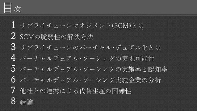 目次 1 サプライチェーンマネジメント(SCM)とは 2 SCMの脆弱性の解決方法 3 サプライチェーンのバーチャル・デュアル化とは 4 バーチャルデュアル・ソーシングの実現可能性 5 バーチャルデュアル・ソーシングの実施率と認知率 6 バーチ...