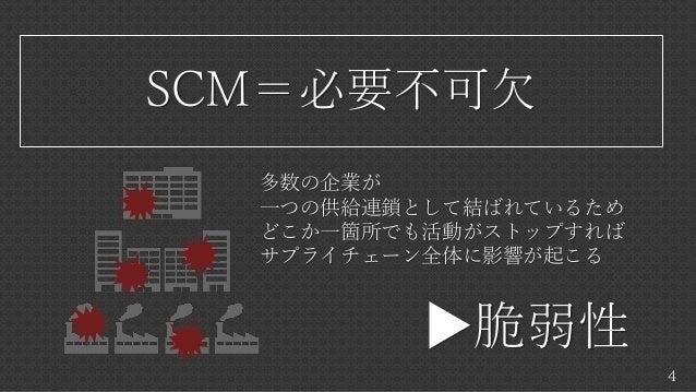 4 SCM=必要不可欠 多数の企業が 一つの供給連鎖として結ばれているため どこか一箇所でも活動がストップすれば サプライチェーン全体に影響が起こる ▶脆弱性