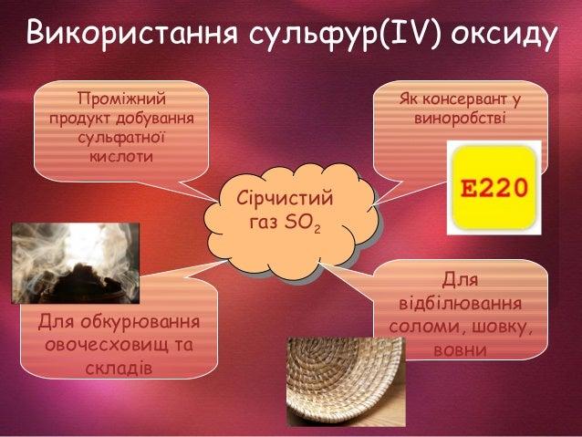 Використання сульфур(ІV) оксиду Сірчистий газ SO2 Сірчистий газ SO2 Проміжний продукт добування сульфатної кислоти Як конс...