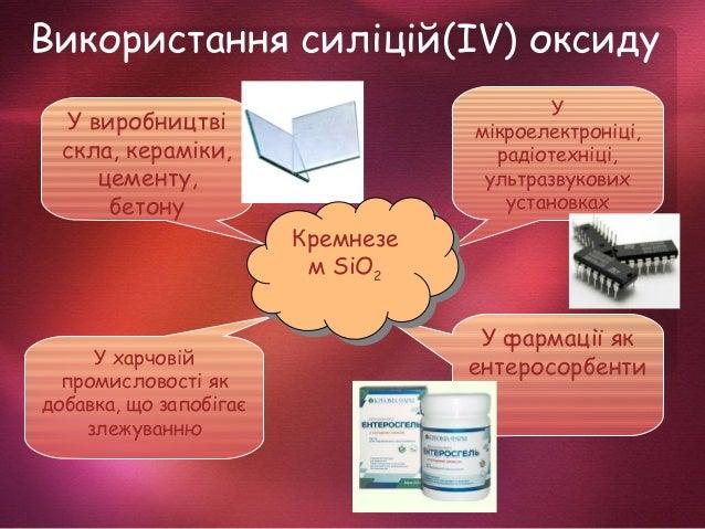 Використання силіцій(ІV) оксиду У виробництві скла, кераміки, цементу, бетону У мікроелектроніці, радіотехніці, ультразвук...