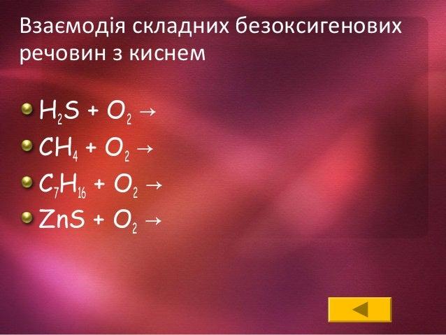 Взаємодія складних безоксигенових речовин з киснем H2S + O2 → CH4 + O2 → C7H16 + O2 → ZnS + O2 →
