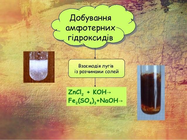Добування амфотерних гідроксидів Добування амфотерних гідроксидів Взаємодія лугів із розчинами солей ZnCl2 + KOH→ Fe2(SO4)...