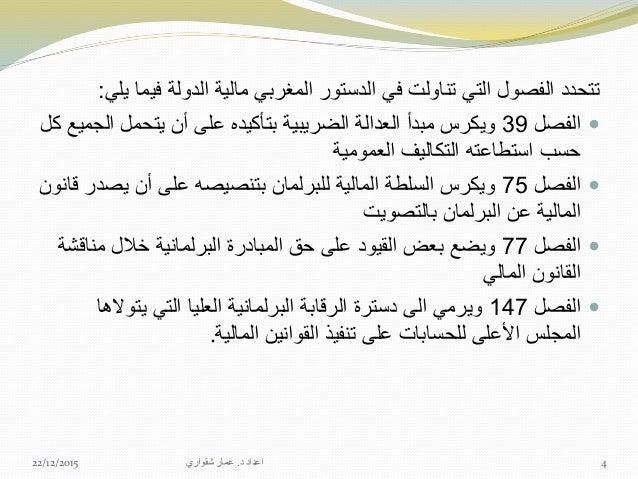 رقم الظهير بمقتضى للمالية تنظيمي قانون أول المغرب عرف وقد1.63.326 في الصادر9نونبر1963؛ محله...
