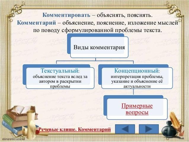 Комментировать – объяснять, пояснять. Комментарий – объяснение, пояснение, изложение мыслей по поводу сформулированной про...