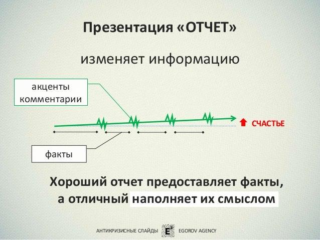 Презентация «ОТЧЕТ» изменяет информацию Хороший отчет предоставляет факты, а отличный наполняет их смыслом акценты коммент...
