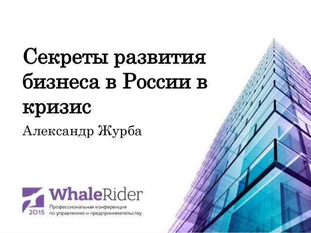 Секреты развития бизнеса в России в кризис Александр Журба
