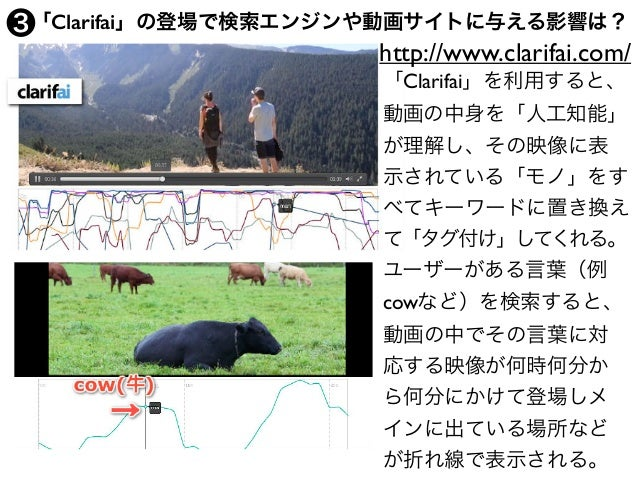 「Clarifai」の登場で検索エンジンや動画サイトに与える影響は? http://www.clarifai.com/ 「Clarifai」を利用すると、 動画の中身を「人工知能」 が理解し、その映像に表 示されている「モノ」をす べてキーワ...