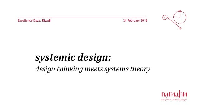 systemic design: design thinking meets systems theory 24 February 2016Excellence Dayz, Riyadh