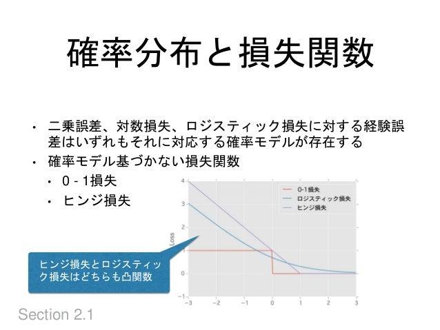 確率分布と損失関数 Section 2.1 • 二乗誤差、対数損失、ロジスティック損失に対する経験誤 差はいずれもそれに対応する確率モデルが存在する • 確率モデル基づかない損失関数 • 0 - 1損失 • ヒンジ損失 ヒンジ損失とロジスティッ...