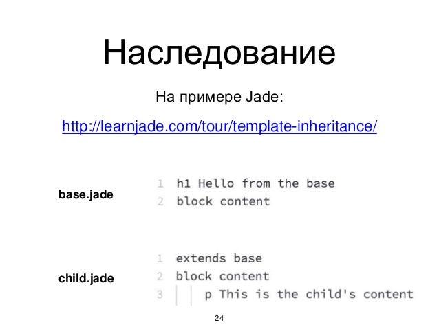 Наследование 24 http://learnjade.com/tour/template-inheritance/ На примере Jade: base.jade child.jade