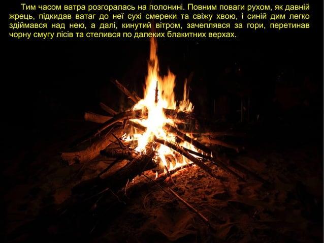 Тим часом ватра розгоралась на полонині. Повним поваги рухом, як давній жрець, підкидав ватаг до неї сухі смереки та свіжу...