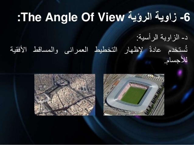 6-الرؤية زاوية:The Angle Of View د-الزاويةالرأسية: ستخدمتعادةإلظهارالتخطيطالعمرانىوالمساقطاألفق...