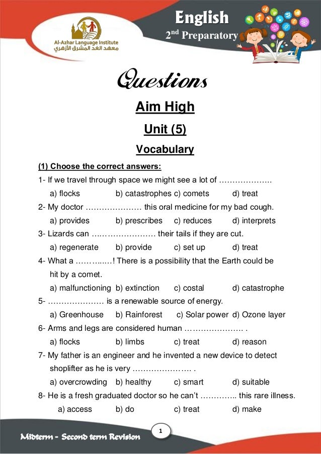 1 2nd Preparatory English Midterm – Second term Revision Questions Aim High Unit (5) Vocabulary (1) Choose the correct ans...