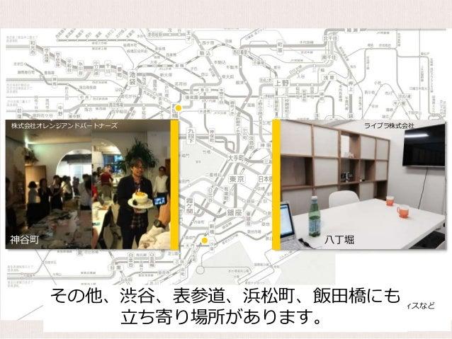 提携先のオフィスなど ライブラ株式会社 八丁堀 株式会社オレンジアンドパートナーズ 神谷町 その他、渋谷、表参道、浜松町、飯田橋にも 立ち寄り場所があります。