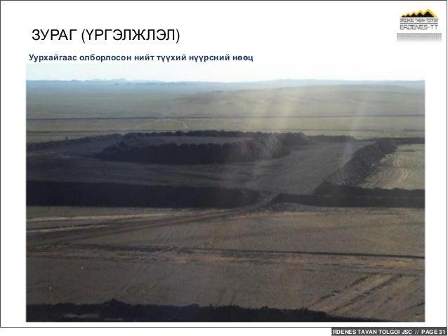ERDENES TAVAN TOLGOI JSC // PAGE 31 Уурхайгаас олборлосон нийт түүхий нүүрсний нөөц ЗУРАГ (ҮРГЭЛЖЛЭЛ)