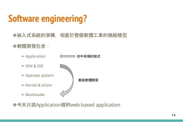 Software engineering? ❖嵌入式系統的架構,相當於整個軟體工業的微縮模型 ❖軟體開發包含: ➢ Application ➢ SDK & IDE ➢ Operate system ➢ Kernel & driver ➢ Boo...