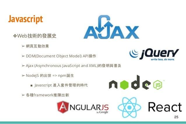 Javascript ❖Web技術的發展史 ➢ 網頁互動效果 ➢ DOM(Document Object Model) API操作 ➢ Ajax (Asynchronous JavaScript and XML)的發明與普及 ➢ NodeJS ...