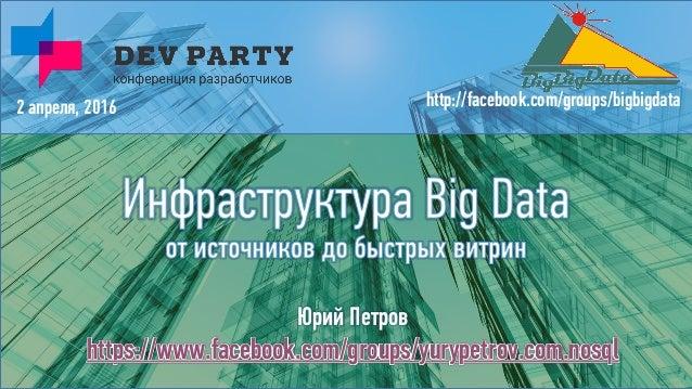 Юрий Петров https://www.facebook.com/groups/yurypetrov.com.nosql 2 апреля, 2016 http://facebook.com/groups/bigbigdata