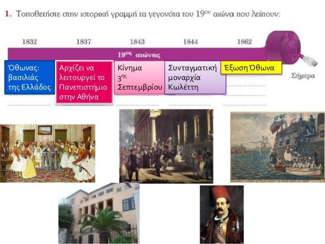 Όθωνας: βασιλιάς της Ελλάδος Αρχίζει να λειτουργεί το Πανεπιστήμιο στην Αθήνα Κίνημα 3ης Σεπτεμβρίου Συνταγματική μοναρχία...