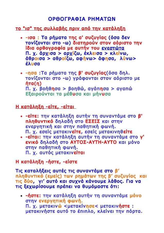 """ΟΡΘΟΓΡΑΦΙΑ ΡΗΜΑΤΩΝ το """"ισ"""" της συλλαβής πριν από την κατάληξη • -ισα : Τα ρήματα της α' συζυγίας (όσα δεν τονίζονται στο -..."""