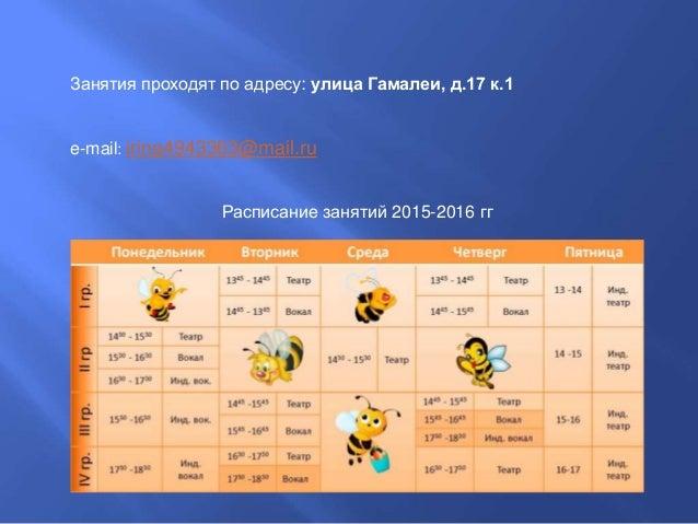 Занятия проходят по адресу: улица Гамалеи, д.17 к.1 e-mail: irina4943363@mail.ru Расписание занятий 2015-2016 гг