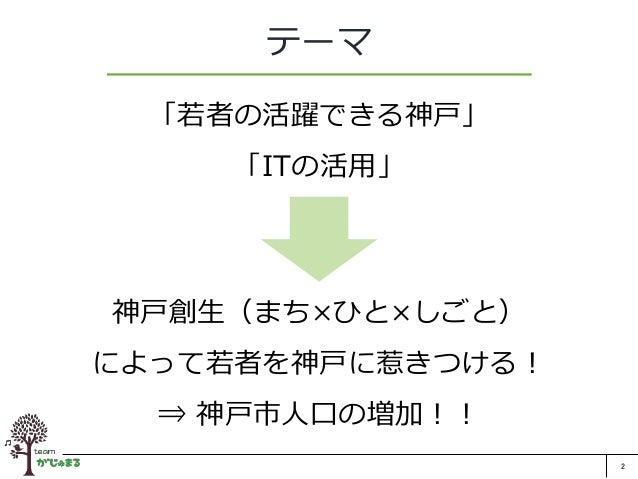 2 テーマ 「若者の活躍できる神戸」 「ITの活用」 神戸創生(まち×ひと×しごと) によって若者を神戸に惹きつける! ⇒ 神戸市人口の増加!!