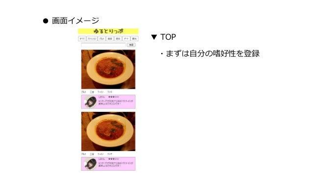 ● 画面イメージ ▼ TOP ・まずは自分の嗜好性を登録
