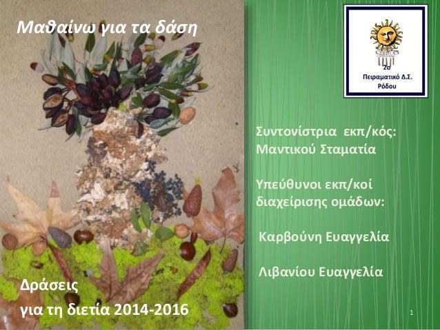 Δράσεις για τη διετία 2014-2016 1 Συντονίστρια εκπ/κός: Μαντικού Σταματία Υπεύθυνοι εκπ/κοί διαχείρισης ομάδων: Καρβούνη Ε...