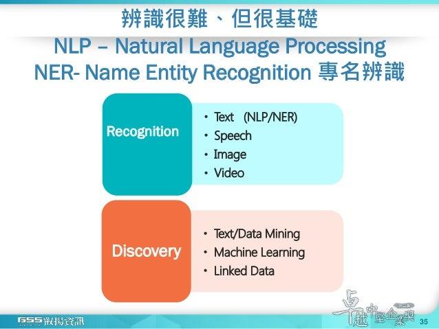 辨識很難、但很基礎 NLP – Natural Language Processing NER- Name Entity Recognition 專名辨識 35 • Text (NLP/NER) • Speech • Image • Video...