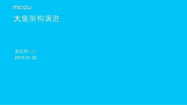 云应用 | 2016.01.20 1 大鱼架构演进 云应用 2016.01.20