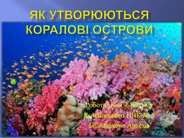 Презентацию на тему як утворюються коралові острови