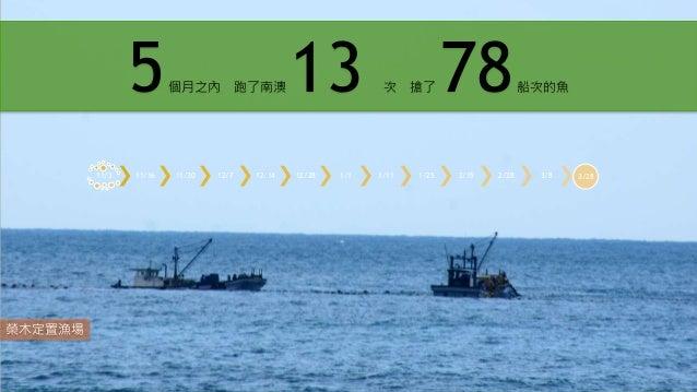 榮木定置漁場 11/3 11/16 11/30 12/7 12/14 12/28 1/1 1/11 1/25 2/15 2/28 3/8 3/28 5個月之內 跑了南澳 13 次 搶了 78船次的魚