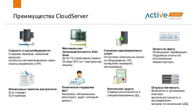 Преимущества CloudServer Скорость и масштабируемость Создание серверов, изменение ресурсов, полностью автоматизированы чер...