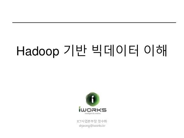 ICT사업본부장 정수화 shjeong@iworks.kr Hadoop 기반 빅데이터 이해