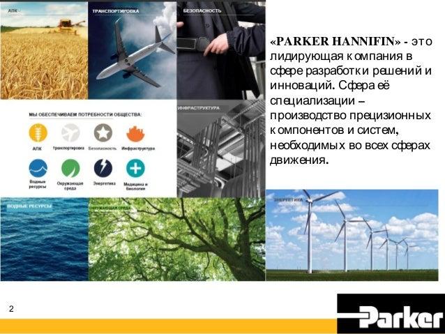 2 «PARKER HANNIFIN» - это лидирующая компания в сфереразработки решений и .инноваций Сфера её –специализации производство ...