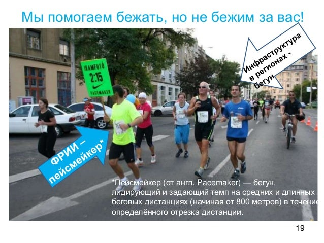 19 Мы помогаем бежать, но не бежим за вас! *Пейсмейкер (от англ. Pacemaker) — бегун, лидирующий и задающий темп на средних...