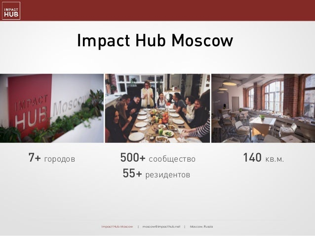 Impact Hub Moscow | moscow@impacthub.net | Moscow, Russia 500+ сообщество 55+ резидентов 7+ городов 140 кв.м. Impact Hub M...