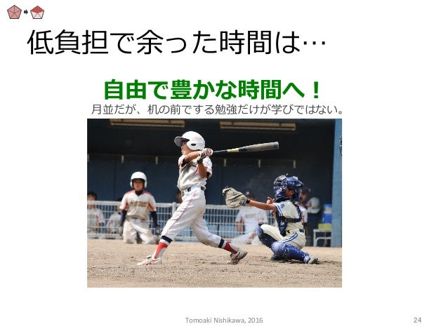 低負担で余った時間は… ⾃自由で豊かな時間へ! ⽉月並だが、机の前でする勉強だけが学びではない。 Tomoaki  Nishikawa,  2016  24