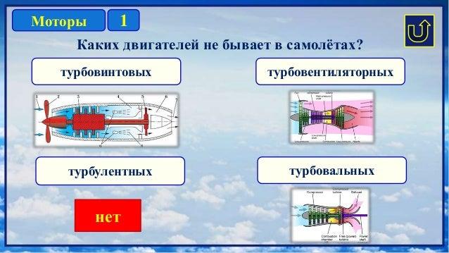 1Моторы турбовинтовых турбулентных турбовентиляторных турбовальных Каких двигателей не бывает в самолётах? нет