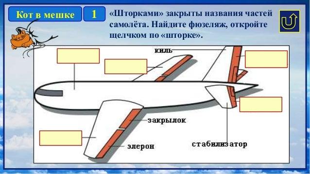 1Кот в мешке «Шторками» закрыты названия частей самолёта. Найдите фюзеляж, откройте щелчком по «шторке».