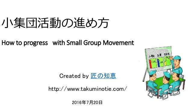 小集団活動の進め方 How to progress with Small Group Movement 2016年7月20日 ク コンサルティング Created by 匠の知恵 http://www.takuminotie.com/