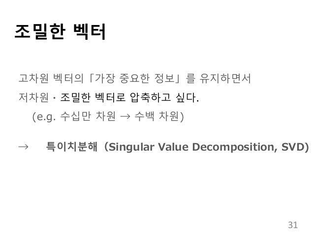 조밀한 벡터 고차원 벡터의「가장 중요한 정보」를 유지하면서 저차원・조밀한 벡터로 압축하고 싶다. (e.g. 수십만 차원 → 수백 차원) → 특이치분해(Singular Value Decomposition, SVD) 31