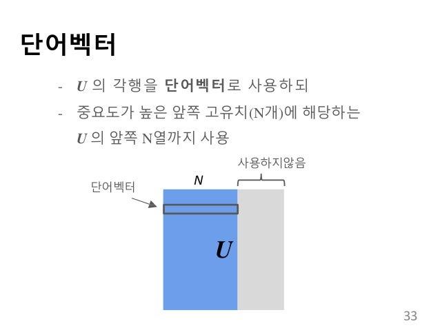 단어벡터 - U 의 각행을 단어벡터로 사용하되 - 중요도가 높은 앞쪽 고유치(N개)에 해당하는 U 의 앞쪽 N열까지 사용 U 단어벡터 사용하지않음 N 33